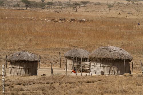 Fotobehang Overige oldonyo masai village