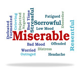 Miserable Word Represents Grief Stricken And Desolate poster