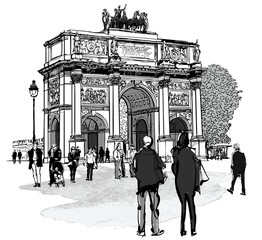 Arch of triumph Carousel and Tuileries garden in Paris