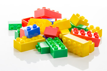 Pile of colorful plastic bricks
