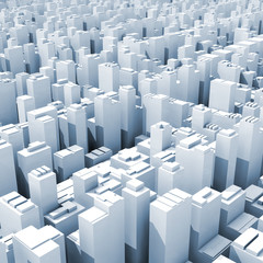 Abstract digital cityscape with tall office buildings
