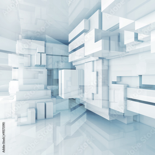 Fototapeta 3d blue high-tech background with chaotic cubes