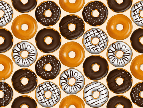 Cotton fabric Seamless pattern of donuts. Donut pattern vector.