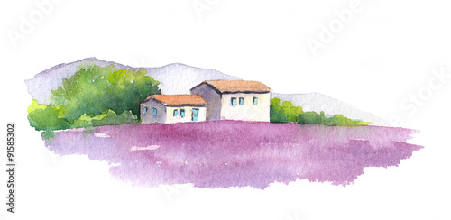 Lavender field and rural house in Provence, France. Watercolor © zzorik