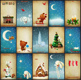 Fototapety Set of Christmas illustrations adventures Teddy and Bunny
