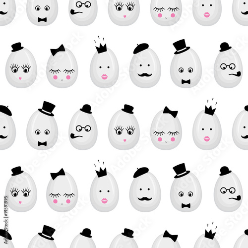 Cotton fabric Easter eggs with glasses, mustache, bow-tie, hat, tobacco pipe, eyes, lashes, lips, crown. Seamless pattern, hipster modern style, graphic design for fabric, website, packaging, invitations, cards