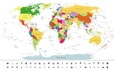 Political World Map with navigation icons
