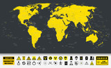 World Map and Nuclear Power technology icons
