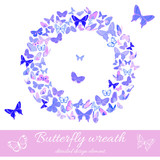 Wreath of butterflies design element template