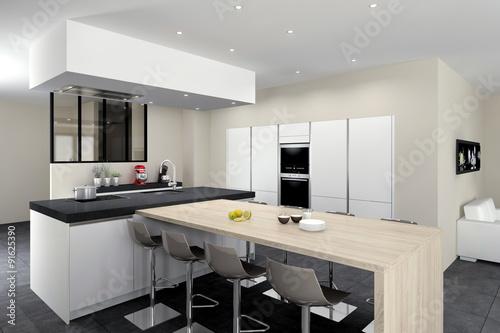 Cuisine 08 blanc mat ilot avec table bois mur d for Verriere cuisine tarif