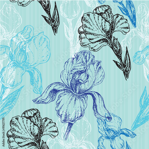 flowers iris seamless pattern - 91627791