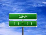 Guam welcome travel landmark landscape map tourism immigration refugees migrant business. poster