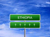 Ethiopia welcome travel landmark landscape map tourism immigration refugees migrant business. poster