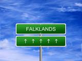 Falkland Islands welcome travel landmark landscape map tourism immigration refugees migrant business. poster