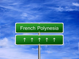 French Polynesia welcome travel landmark landscape map tourism immigration refugees migrant business. poster