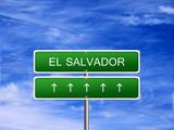El Salvador welcome travel landmark landscape map tourism immigration refugees migrant business. poster