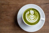 Matcha Latte on Wooden Background