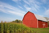 Fototapety Red Barn with Corn and Dramatic Sky