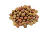 a handful of kibbles pet food on a white background poster