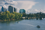 Fototapety Landscape View of Sacramento River Bridge and Downtown Skyline