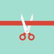 Scissors cutting red ribbon. Illustration in flat style