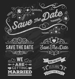Set of save the date typography, frame and ribbon chalk style. Save the date frame and element on chalkboard design. Vector illustration