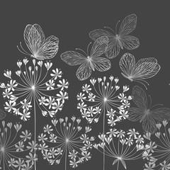 bezszwowe granica z kwiatów i motyli