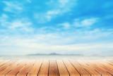 Fototapety wooden platform and blur tropical beach