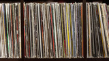 Stack of old vinyl records