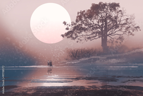 love couple in winter landscape with huge moon above,illustration painting - 91708572