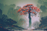 Fototapety lonely red autumn tree with falling leaves in winter forest,landscape painting