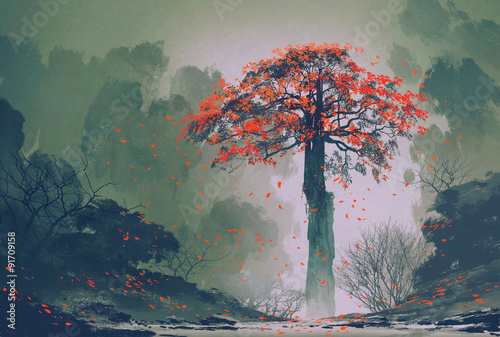 lonely red autumn tree with falling leaves in winter forest,landscape painting - 91709158
