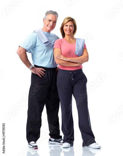 Healthy fitness elderly couple. © Kurhan