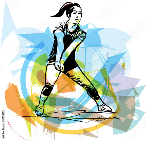 fototapeta na ścianę Illustration of volleyball player playing