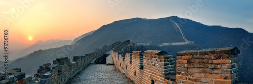 Fotobehang Peking Great Wall sunset panorama