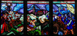 Постер, плакат: Stained Glass of the Departure of Pierre Boucher for Quebec