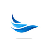 water abstract wave blue logo