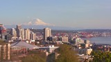 Panning shot of the Seattle skyline on a beautiful clear day.