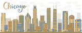 Fototapety Abstract Chicago skyline with color skyscrapers