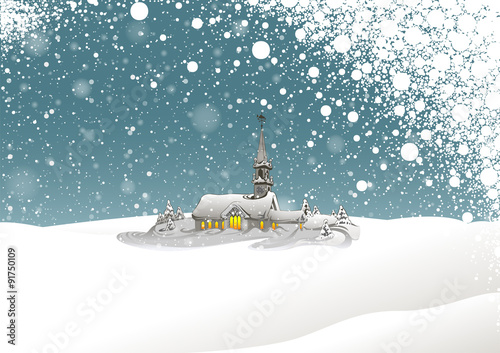 Winter Landscape and Snowing - Background Xmas Illustration, Vector