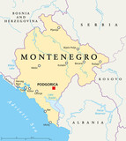 Montenegro political map with capital Podgorica, national borders, important cities, rivers and lakes. English labeling and scaling. Illustration. poster