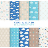 Fototapety 10 Seamless Patterns - Snow and Clouds - Texture for wallpaper