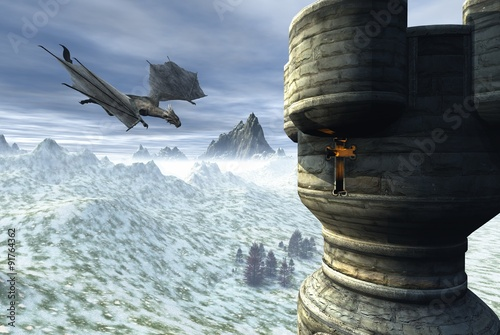 Fototapeta Dragon Tower - Fantasy illustration of a dragon flying towards a lonely tower in a winter landscape, 3d digitally rendered illustration