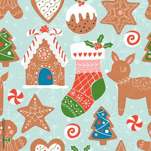 Cotton fabric Christmas seamless pattern background with gingerbread cookies.