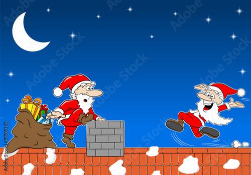 Weihnachtsmann bei der Arbeit auf einem Dach