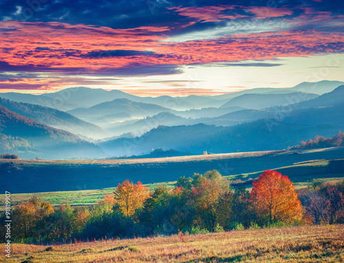 Colorful winter sunrise in the Carpathian mountains. - 91819907