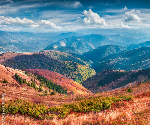 Colorful winter sunrise in the Carpathian mountains. - 91819943