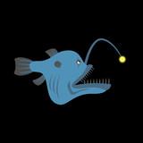 Deep-sea predatory fish with a lantern. Terrible predator fish a