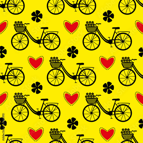 Cotton fabric Seamless bicycle pattern.  City bike with hearts and flowers. Vector illustration