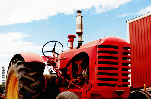 Poster Red Vintage Tractor
